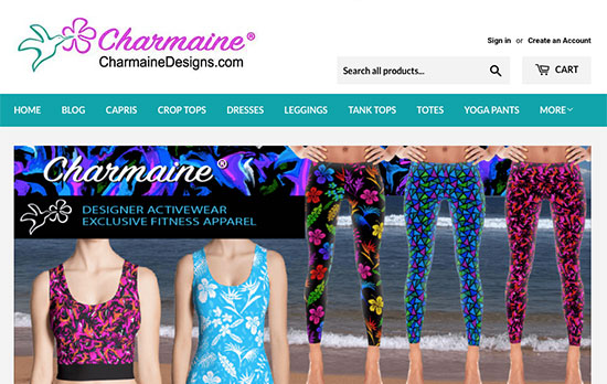 Charmaine Designs online store offers women's activewear.