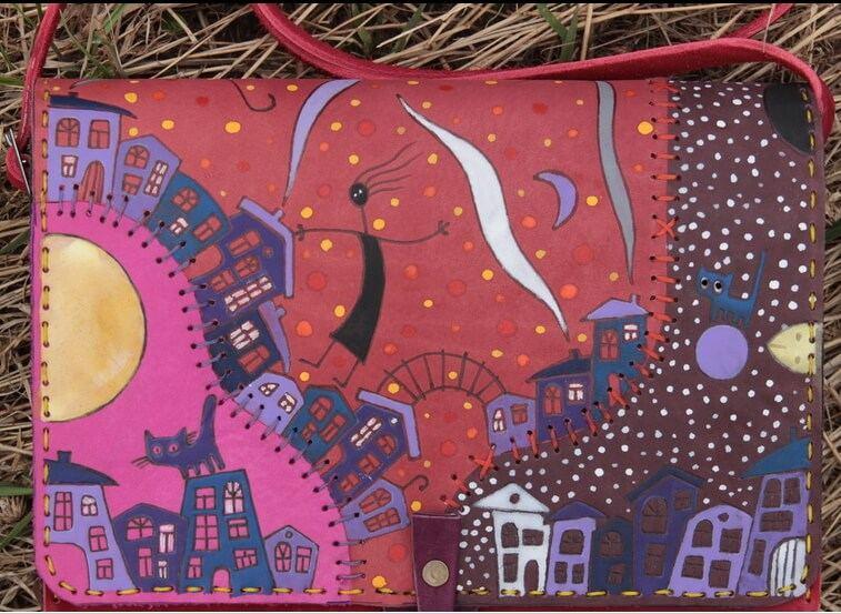 Hand painted leather handbag